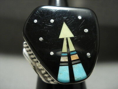 Colossal Navajo Space Inlay Turquoise Silver Star Sky Ring