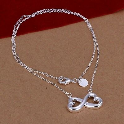 Women 925 Sterling Silver Plated Love Bowknot Pendant Necklace Chain Jewelry