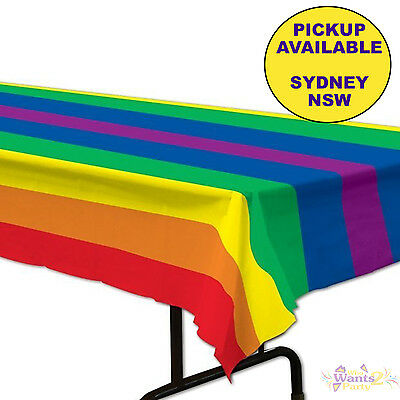 Rainbow Party Supplies Plastic Striped Tablecloth Birthday Table Cover
