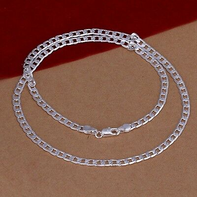 New Women Men 925 Sterling Silver Plated 4MM Long Pendant Necklace Chain Jewelry