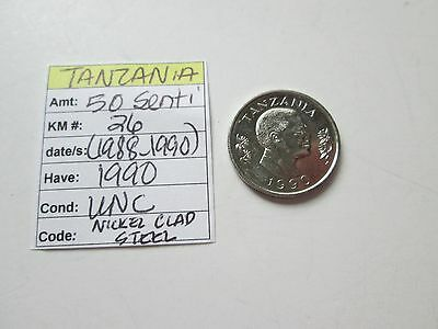 Single coin from TANZANIA, 1990, 50 senti, KM 26, (1988-1990),  UNC