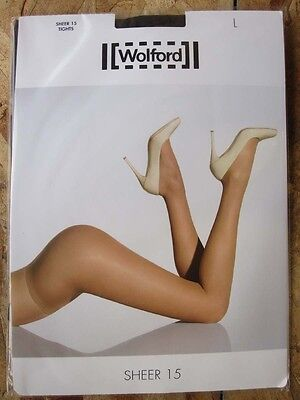 Wolford 18381 Sheer 15 NEARLY BLACK  pantyhose hosiery TIGHTS  - Large L