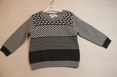 Baby Boy Size 00,0,1,2 Bebe Winter Grey & Charcoal Knit Jumper  NWT