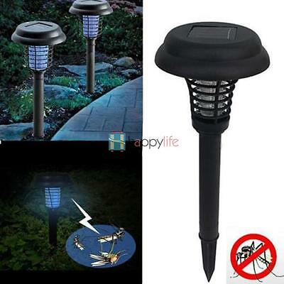 UV LED Solar Powered Mosquito Insect Pest Bug Zapper Killer Night Lamp Outdoor