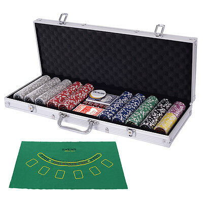 Poker Chip Set 500 Dice Chips Texas Hold'em Cards with Silver Aluminum Case New