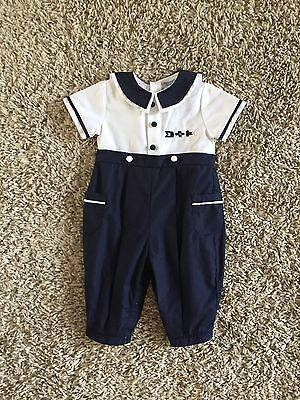 Friedknit Creations Baby Boys Nautical Themed One Piece Romper. 6 Months.