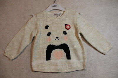 Baby Girl Size 00,0,1,18m,2 Bebe Winter Cream Gold Speck Knit Jumper NWT
