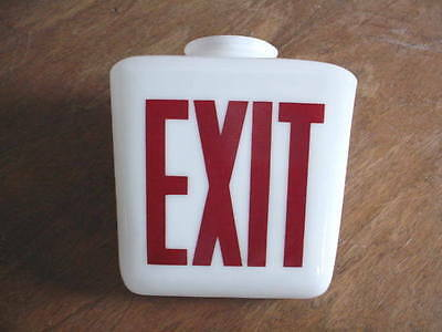 Milk Glass Vintage Exit Sign With Red Lettering