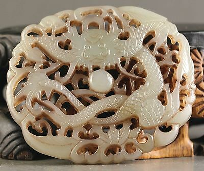Chinese natural Hetian jade hand-carved old dragon pendant  NO.X078