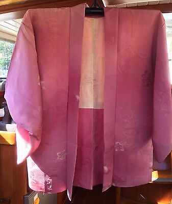 Lovely Pink Patterned Vintage Japanese Silk Haori