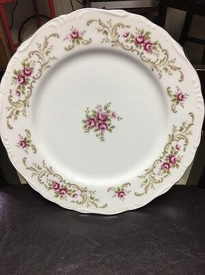 Style House Rose Baroque Vintage Fine China Dinner Plates 10.5 Inches