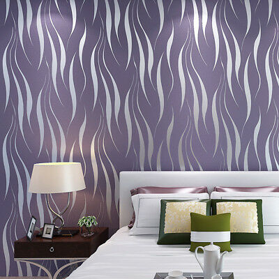 Modern Abstract Luxury 3D Wallpaper Roll Mural Flocking Curve Striped Non Woven