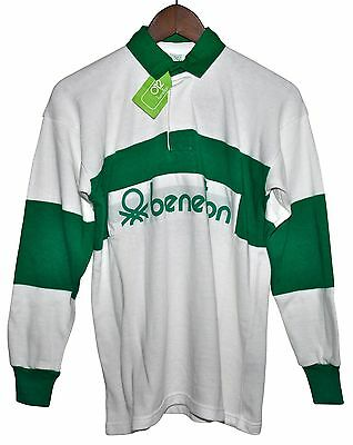 VTG 80s BENETTON Rugby Shirt Green White Striped Long Sleeve Polo S DEADSTOCK