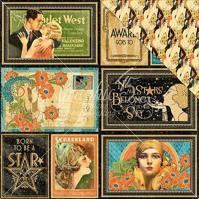 """Graphic 45 Vintage Hollywood - SPOTLIGHT - 12x12"""" Scrapbooking Paper"""