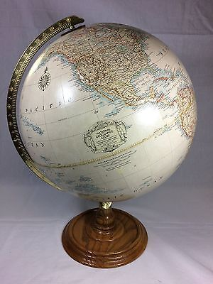 "Vintage C. 1993-1996 National Geographic 12"" Diameter World Globe Oak Wood Base"