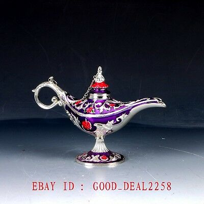 Chinese Decorative Cloisonne Handwork Carved Aladdin Lamp Statue QW0566