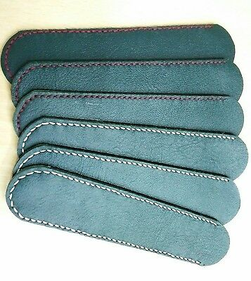 6 Pcs Genuine Leather Green Pen Case Bag Holder Fountain Pen,Pencil Hand Made