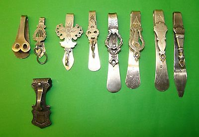 Lot Of 9 Antique French Sterling Silver Belt Clip  Hook Marked About 1850 - 1910