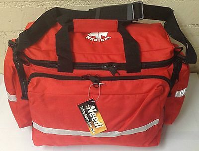 First Responder EMS Paramedic Medical Emergency Bag with Reflectors In RED