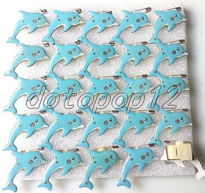 Lot Cartoon dolphins Flashing LED Light Up Badge/Brooch Pins Party Favors Z511
