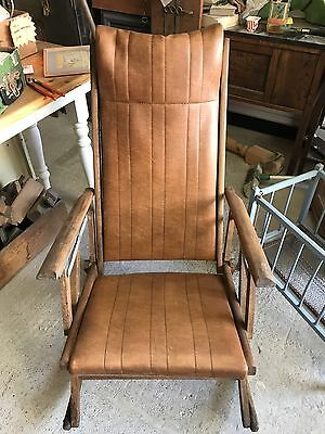 Antique Vintage Foldable Collapsible Adjustable Rocking Chair Rocker