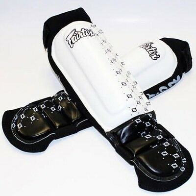Fairtex Neoprene In Steps / Shin Guards SP6 White Medium Muay Thai MMA Boxing
