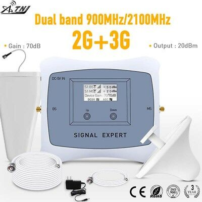 ATNJ dual band 900/2100mhz 2G 3G mobile signal booster new repeater 70dB gain
