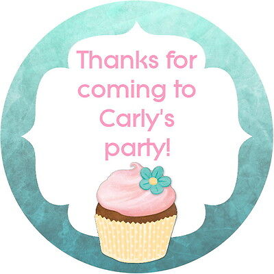 24  Personalised Glossy Cupcake Birthday Celebration Party Stickers