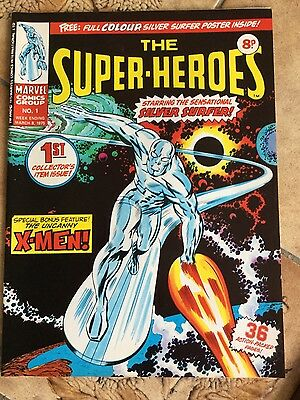 Marvel The Super-Heroes comic #1 with free gift poster 1976