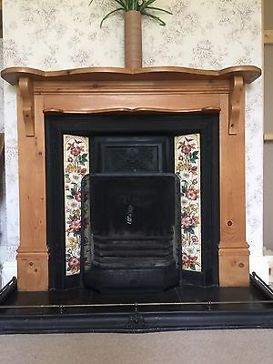 Victorian Style Cast Iron Tiled Fireplace, Pine surround & slate hearth