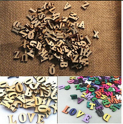 100X Letters Wooden Alphabet Embellishments Scrapbooking Cardmaking Craft gift K