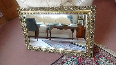 """LARGE ORNATE BAROQUE WALL MIRROR, ANTIQUE/VINTAGE STYLE GOLD/GILT FRAME 32""""x 21"""""""
