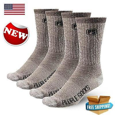 Brown Small Medium 4pairs Premium Merino Wool Crew Hiking Socks Made USA People