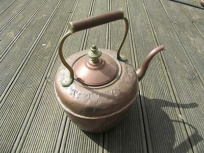 Unusual Copper Kettle with Brass Handle and Stamped design