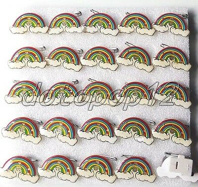 Lot rainbow Flashing LED Light Up Badge/Brooch Pins Kids Party Favors Z531