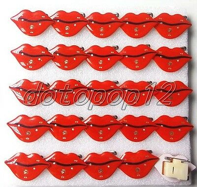 Lot Red lips Flashing LED Light Up Badge/Brooch Pins Kids Party Favors Z550