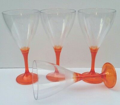 Tupperware plastic drinking wine cup stem glasses Part Picnic Orange Illusions