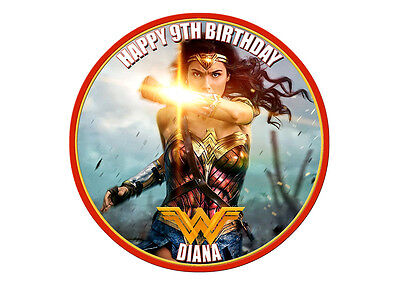 Wonder Woman Cake Topper Round Premium Real Edible Icing  Personalised