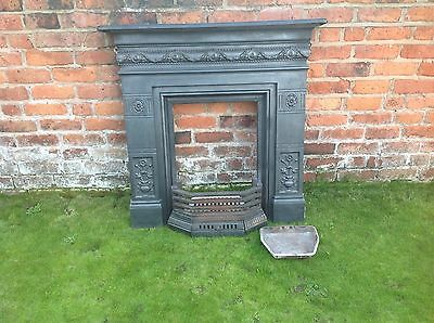 edwardian cast iron fireplace surround with grate