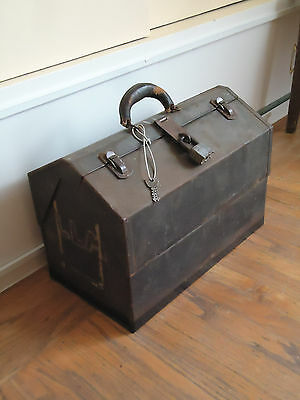 """Antique Vintage 18"""" Cantilever Metal Tool Box with Padlock and 2 Keyes"""