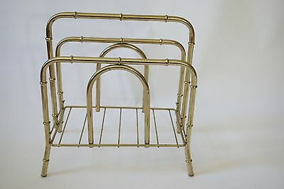 Vintage Mid Century Hollywood Regency Brass Tone Bamboo Magazine Stand Rack