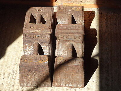 Vintage Cast Iron Barn Weights 56lb