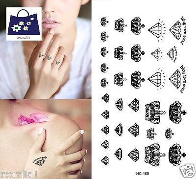 Waterproof Removable BodyArt Crown Diamond Fake Temporary Flash Tattoo Sticker