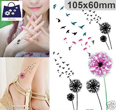 Waterproof BodyArt Birds Flying Dandelion Fake Temporary Flash Tattoo Sticker