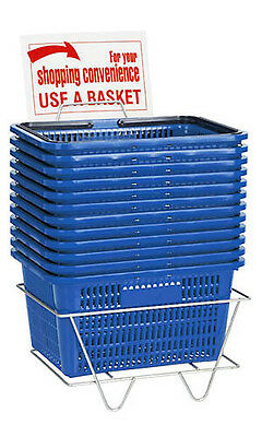 Shopping Baskets Set of 12 Blue Standard Plastic Handles w/ Metal Stand