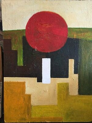Interesting Abstract Oil On Board Signed