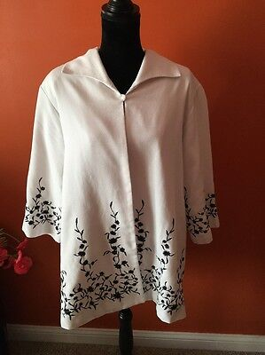 Women's Victor Acosta Occasion White Dressy Jacket black Embroidery Plus Size 1X