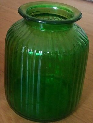 Large Ribbed Green Glass Vase