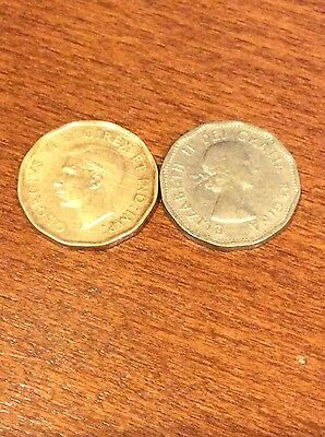 1942 and 1962 Canada 5 Cent Beaver coins