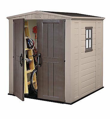 Keter Factor Resin Outdoor Garden Storage Shed, 6 x 6 Feet - Beige weatherproof